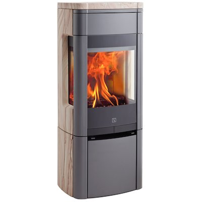 Scan 65 Wood Stove Grey/Sandstone Side Glass Windows