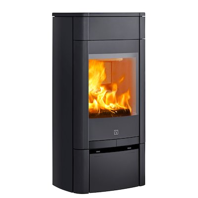 Scan 65 Low Wood Stove Black Solid Sides