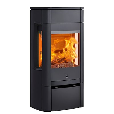 Scan 65 Low Wood Stove Black Side Glass Windows