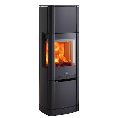 Scan 65 High Top Wood Stove Black Side Glass Windows