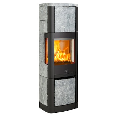 Scan 65 High Top Wood Stove Black/Soapstone Side Glass Windows