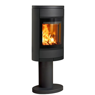 Scan 68 Pedestal Wood Stove Black Solid Sides Black Trim