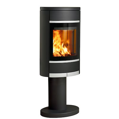 Scan 68 Pedestal Wood Stove Black Solid Sides Silver Trim