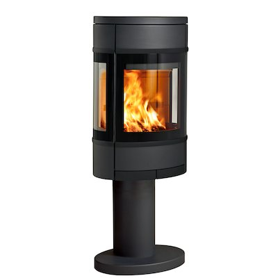 Scan 68 Pedestal Wood Stove Black Side Glass Windows Black Trim