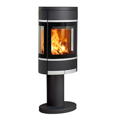 Scan 68 Pedestal Wood Stove Black Side Glass Windows Silver Trim
