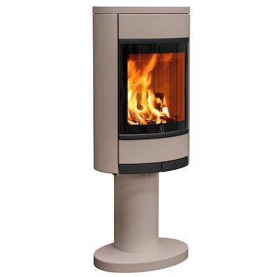 Scan 68 Pedestal Wood Stove Champagne Solid Sides Black Trim