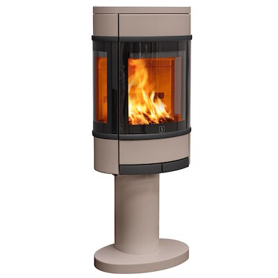 Scan 68 Pedestal Wood Stove Champagne Side Glass Windows Black Trim