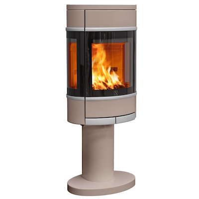 Scan 68 Pedestal Wood Stove Champagne Side Glass Windows Silver Trim