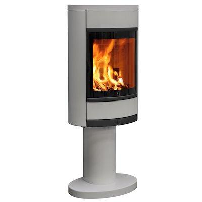 Scan 68 Pedestal Wood Stove Silver Solid Sides Black Trim