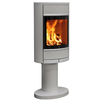 Scan 68 Pedestal Wood Stove Silver Solid Sides Silver Trim