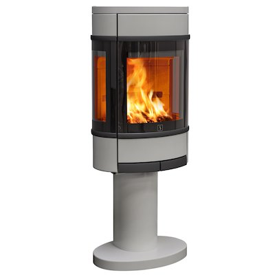 Scan 68 Pedestal Wood Stove Silver Side Glass Windows Black Trim