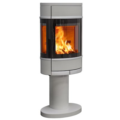 Scan 68 Pedestal Wood Stove Silver Side Glass Windows Silver Trim