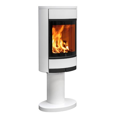Scan 68 Pedestal Wood Stove White Solid Sides Black Trim
