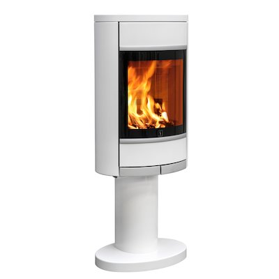 Scan 68 Pedestal Wood Stove White Solid Sides Silver Trim