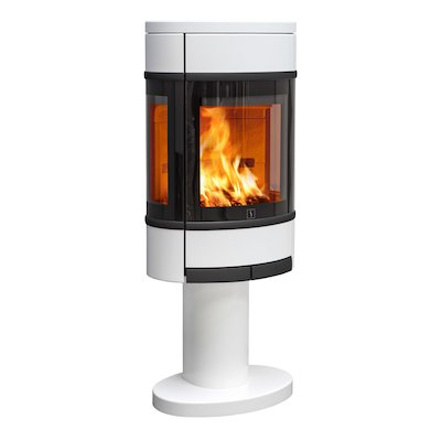 Scan 68 Pedestal Wood Stove White Side Glass Windows Black Trim
