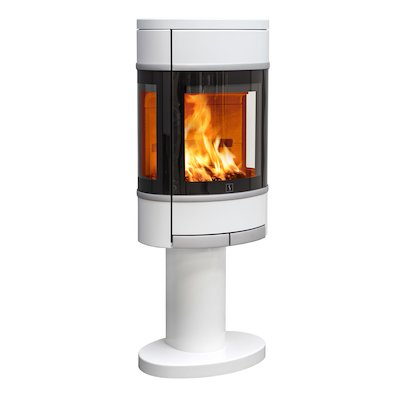 Scan 68 Pedestal Wood Stove White Side Glass Windows Silver Trim