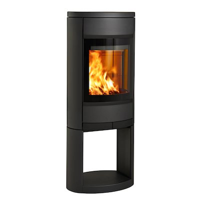 Scan 68 Logstore Wood Stove Black Solid Sides Black Trim