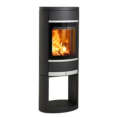 Scan 68 Logstore Wood Stove Black Solid Sides Silver Trim