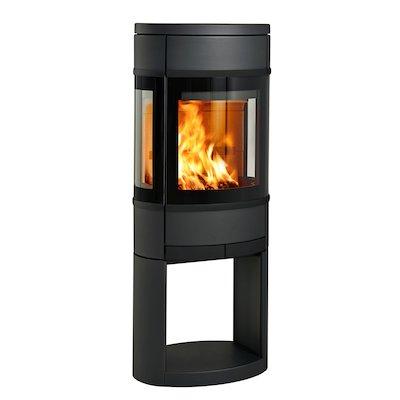 Scan 68 Logstore Wood Stove Black Side Glass Windows Black Trim