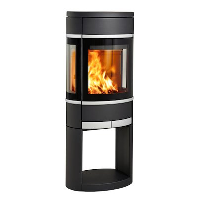 Scan 68 Logstore Wood Stove Black Side Glass Windows Silver Trim