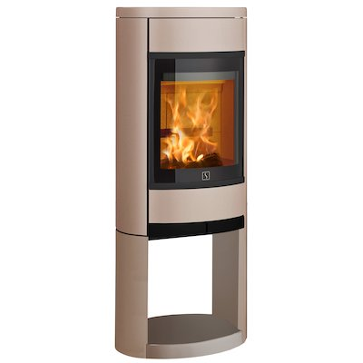 Scan 68 Logstore Wood Stove Champagne Solid Sides Black Trim