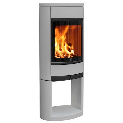 Scan 68 Logstore Wood Stove Silver Solid Sides Black Trim