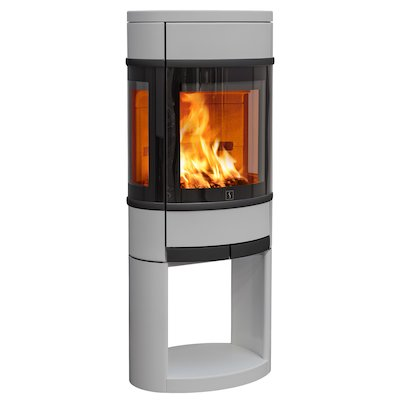 Scan 68 Logstore Wood Stove Silver Side Glass Windows Black Trim