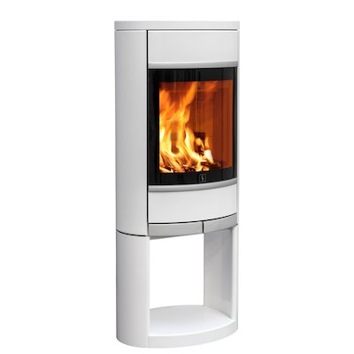 Scan 68 Logstore Wood Stove White Solid Sides Silver Trim