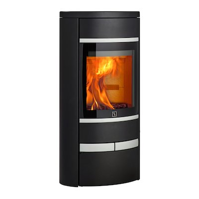 Scan 68 Low Base Wood Stove Black Solid Sides Silver Trim