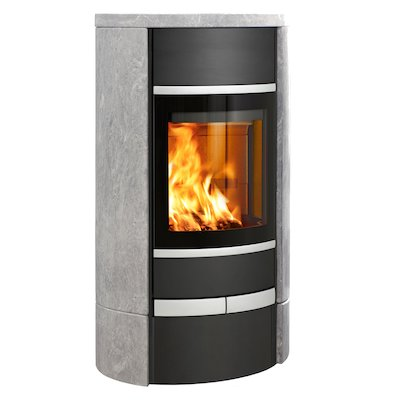 Scan 68 Low Base Wood Stove Black/Soapstone Solid Sides Silver Trim