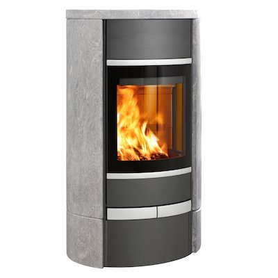 Scan 68 Low Base Wood Stove Grey/Soapstone Solid Sides Silver Trim