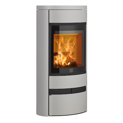 Scan 68 Low Base Wood Stove Silver Solid Sides Black Trim
