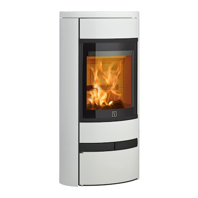 Scan 68 Low Base Wood Stove White Solid Sides Black Trim