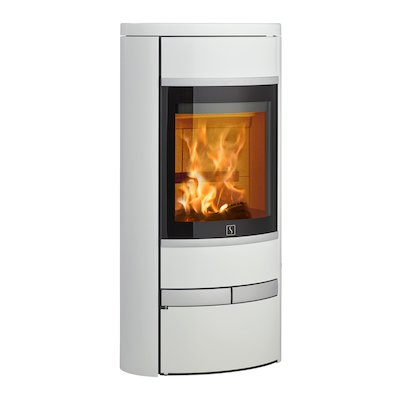 Scan 68 Low Base Wood Stove White Solid Sides Silver Trim