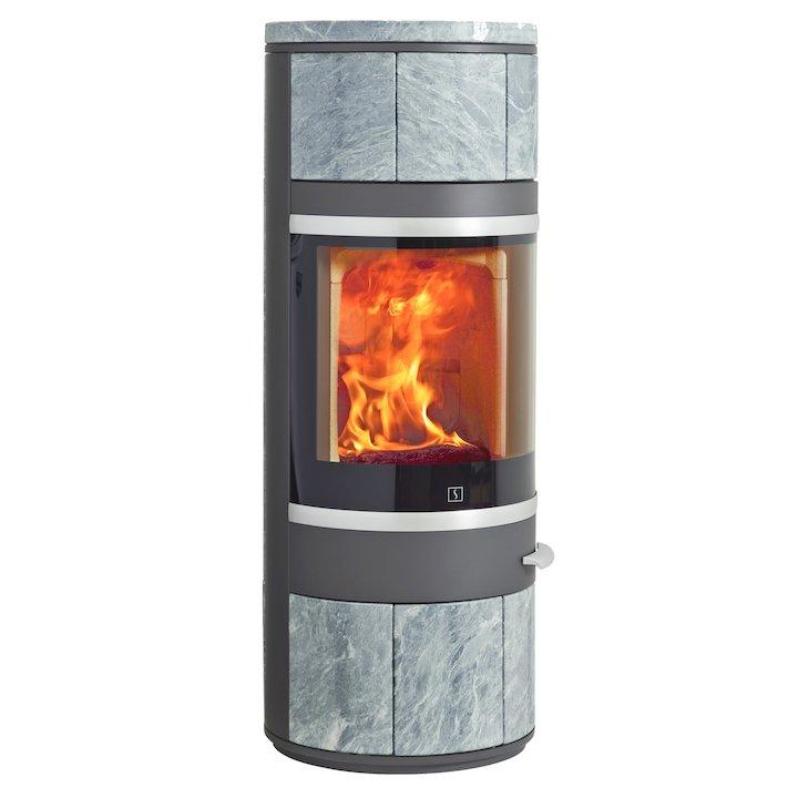 Scan 83 Wood Stove Grey/Soapstone Silver Trim - Grey / Soapstone