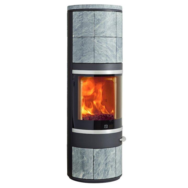 Scan 83 Maxi Wood Stove Black/Soapstone Silver Trim - Black / Soapstone