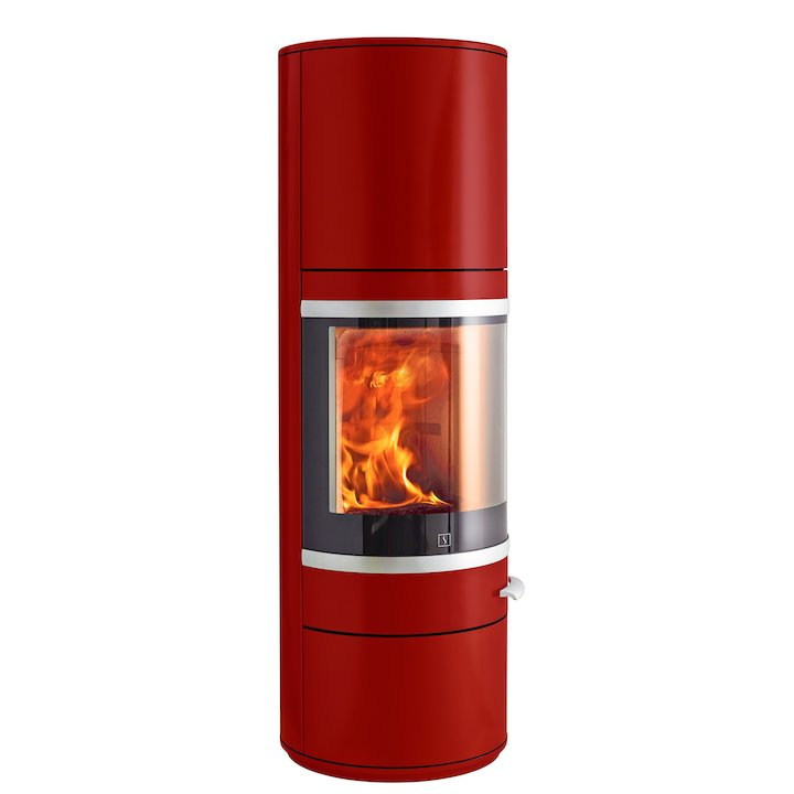 Scan 83 Maxi Wood Stove Red Silver Trim - Red