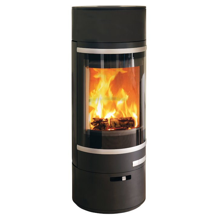 Scan 85 LL Wood Stove Black Silver Trim - Black
