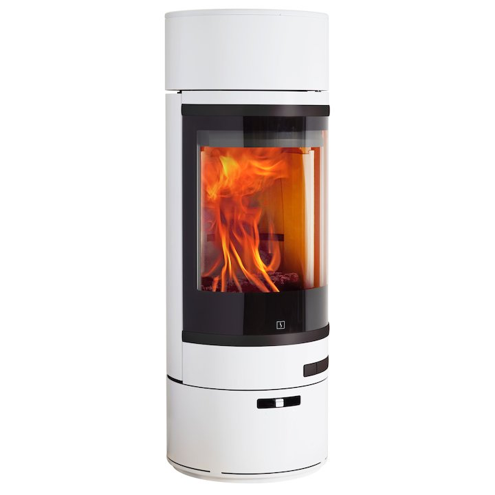 Scan 85 LL Wood Stove White Black Trim - White