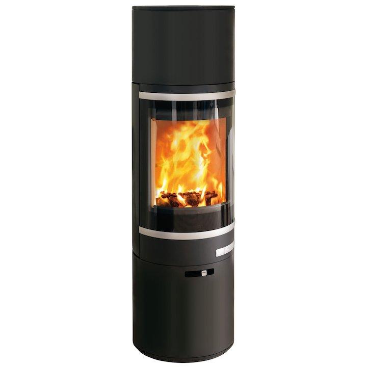 Scan 85 Maxi HH Wood Stove Black Silver Trim - Black