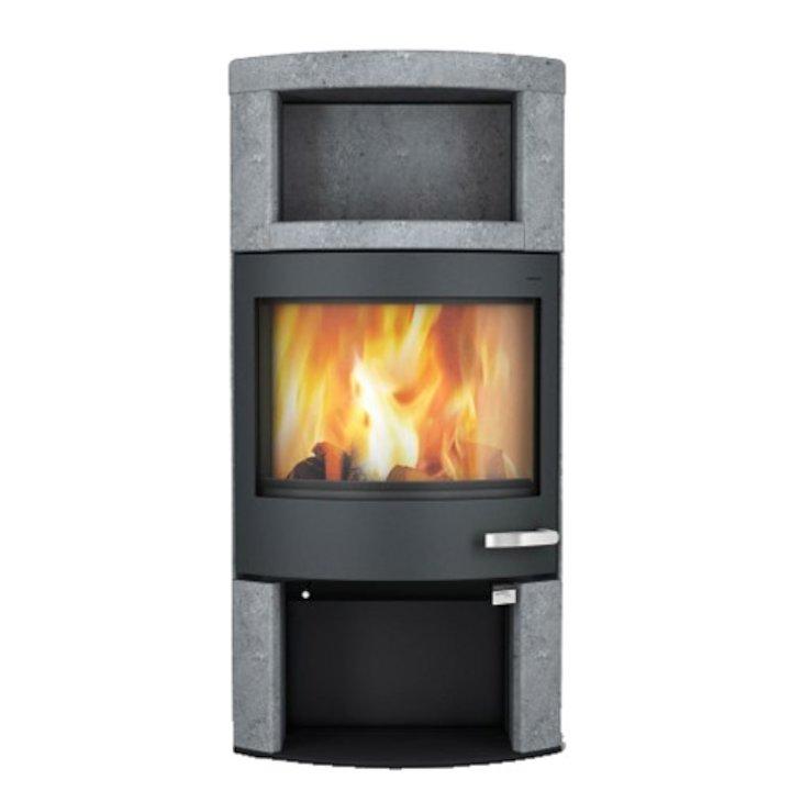 Skantherm Ator Plus Wood Stove Soapstone Black Trim - Soapstone