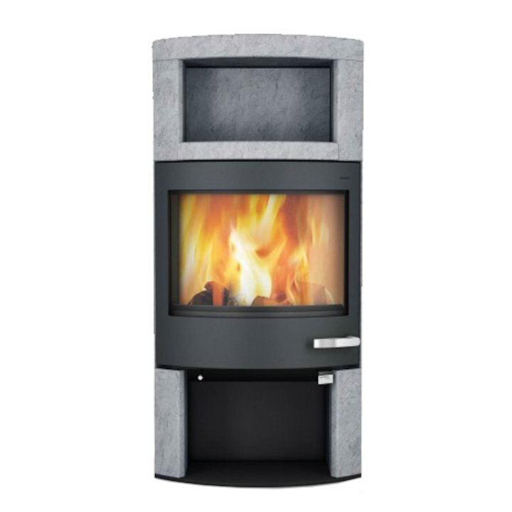 Skantherm Ator Plus Wood Stove Serpentine Natural Stone Black Trim - Serpentine Natural Stone