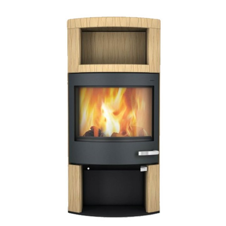 Skantherm Ator Plus Wood Stove Yellow Sandstone Black Trim - Yellow Sandstone