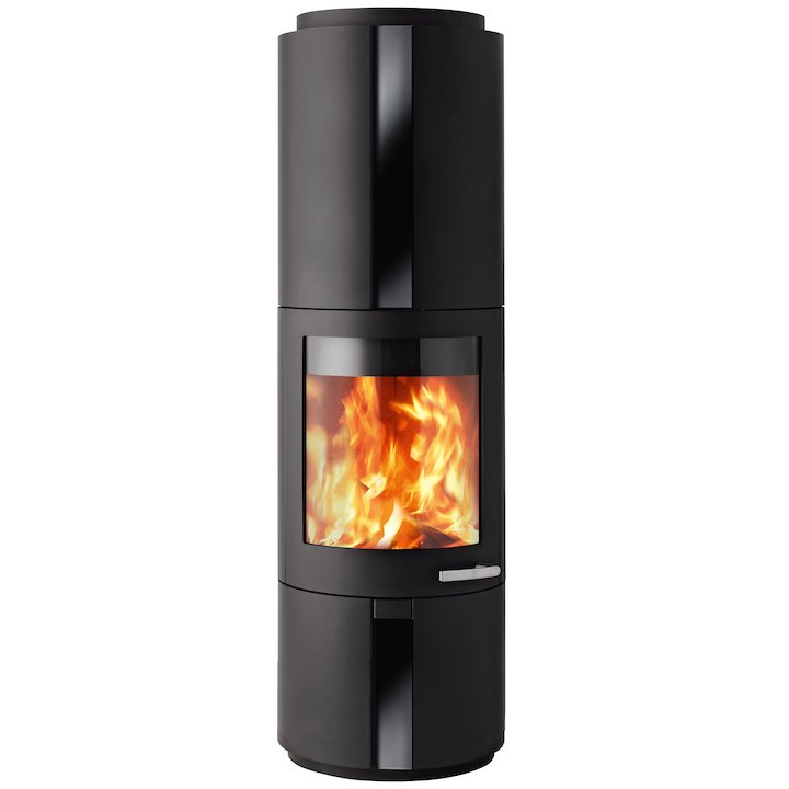 Skantherm Solo Wood Stove Black Rotating Black Glass Inlay - Black