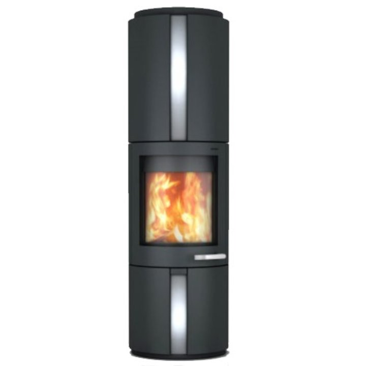 Skantherm Solo Wood Stove Black Rotating Stainless Steel Inlay - Black