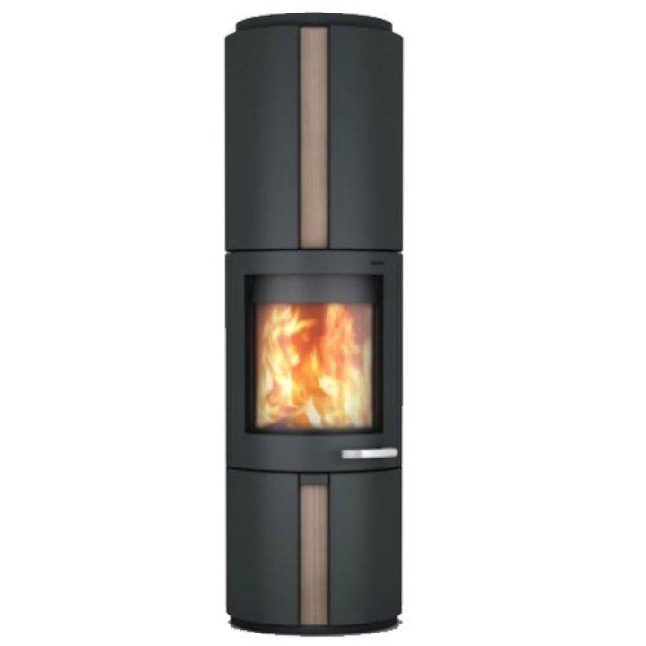 Skantherm Solo Wood Stove Black Rotating Sandstone Inlay - Black