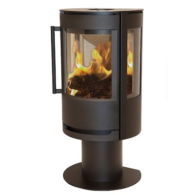 Wiking Luma Pedestal Wood Stove Black Side Glass Windows