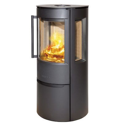 Wiking Luma Logstore Wood Stove Black Side Glass Windows