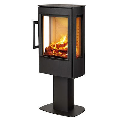 Wiking Miro Pedestal Wood Stove Black Side Glass Windows