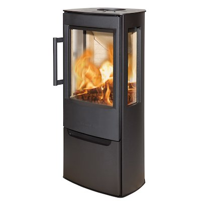 Wiking Miro Logstore Wood Stove Black Side Glass Windows